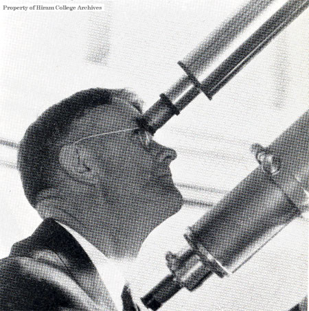 Prof. Elbert Clarke at the telescope eyepiece.
