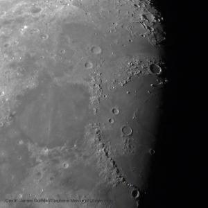 Photo: Earth's Moon - Mare Serenitatis & Mare Iridium. Photo by James Guilford.