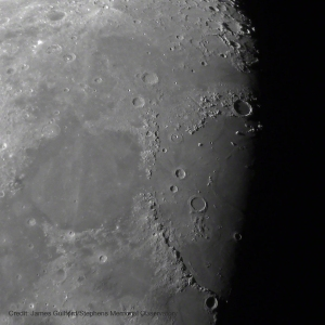 Photo: Earth's Moon - Mare Serenitatis & Mare Iridium. Photo by James Guilford.