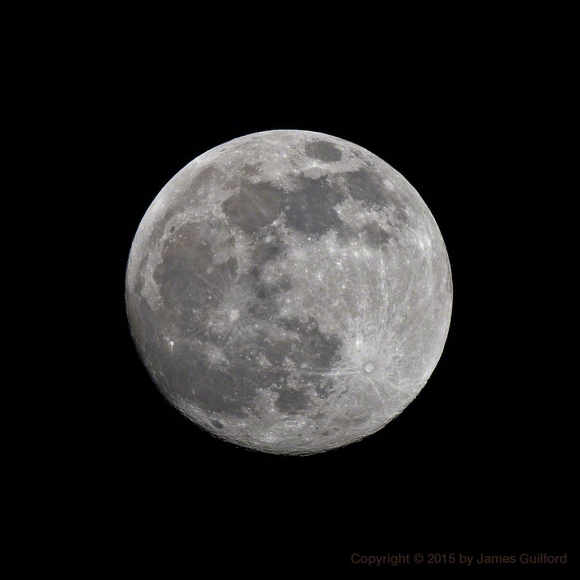 Photo: Waxing Gibbous Moon, Approaching Full. Photo by James Guilford.