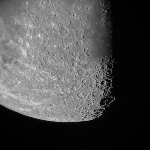 Detail of Earth's Moon viewed through The Cooley Telescope. iPhone photo by James Guilford.