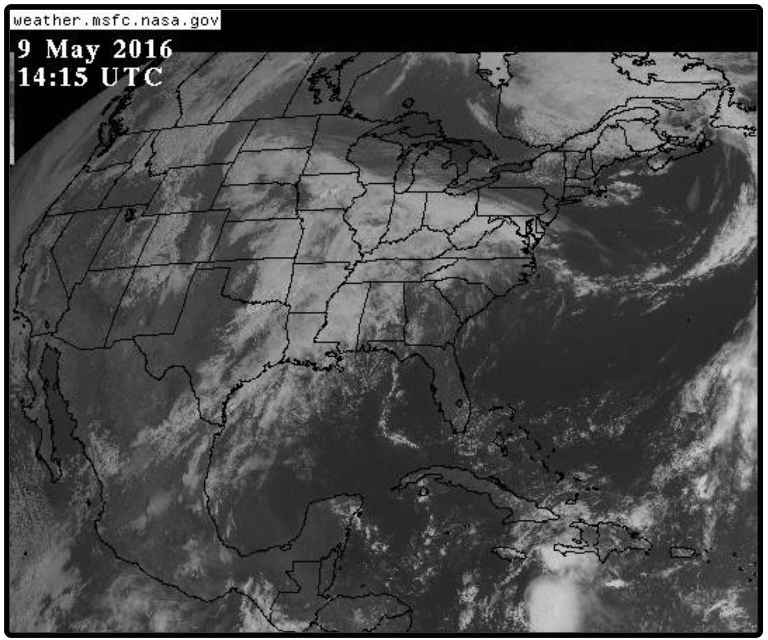 Photo: GOES weather image, May 9, 2016.