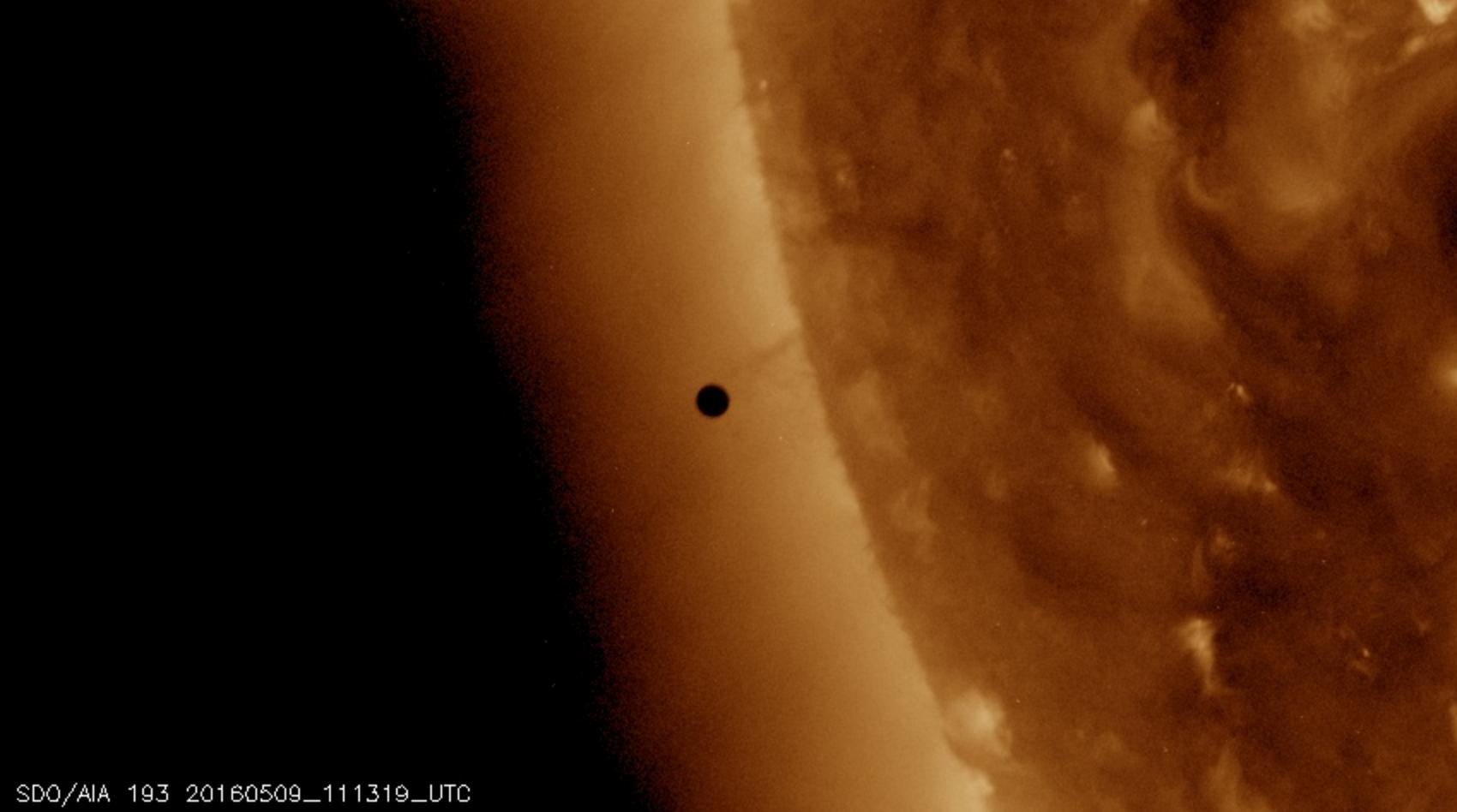 Photo: Mercury's transit about to begin. Data courtesy of NASA/SDO, HMI, and AIA science teams.