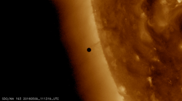 Photo: Mercury's transit about to begin. Data courtesy of NASA/SDO, HMI, and AIA science teams.