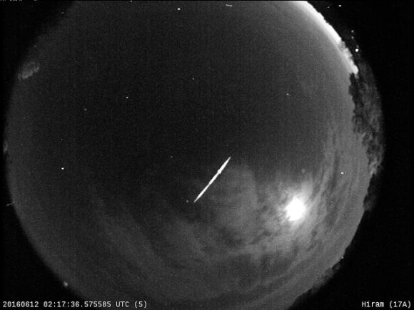 Photo: Fireball Recorded June 11, 2016, at 10:17 PM EDT. Credit: NASA