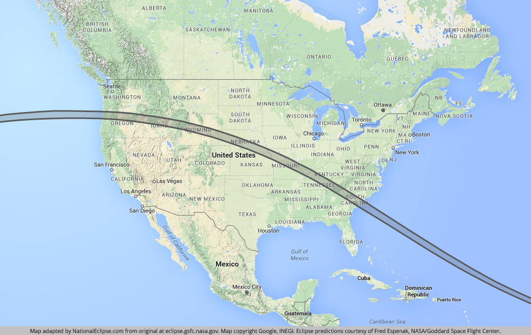 Image: Path of the August 21, 2017 Total Solar Eclipse - Courtesy NationalEclipse.com