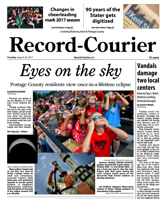 Image: The Record-Courier - August 22, 2017 -- Page 1