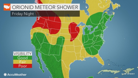 Weather conditions may be best for us overnight Friday as the Orionids shower builds towards its peak. https://www.accuweather.com/