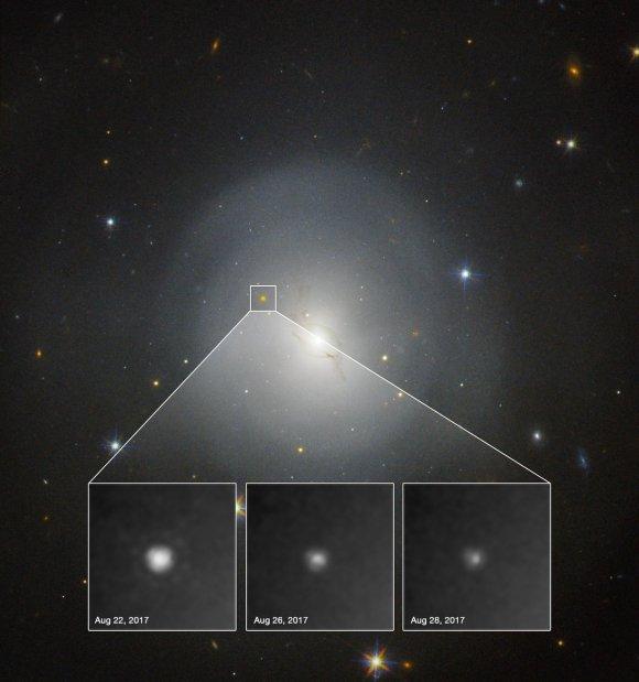 Photo: Kilonova discovered. Credit: NASA and ESA. Acknowledgment: A.J. Levan (U. Warwick), N.R. Tanvir (U. Leicester), and A. Fruchter and O. Fox (STScI)