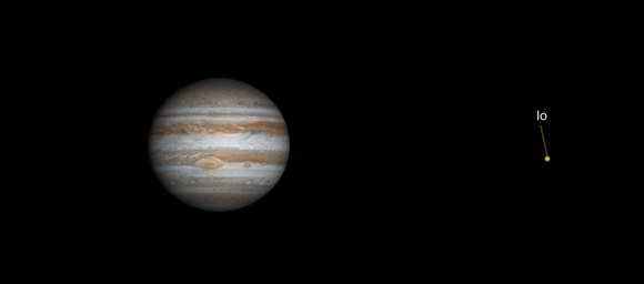 Image: Jupiter and moon Io as they will appear at about 10 PM on July 21, 2018. The Great Red Spot will be front-and-center. Image: Gas Giants simulation.