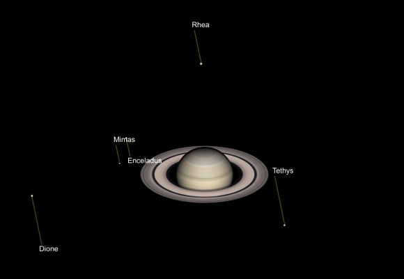 Illustration: Saturn and Some Moons as they will appear at 10 PM, August 18, 2018. Simulation by Gas Giants.