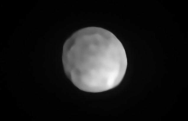 Photo: Asteroid/dwarf planet Hygiea. Credit: ESO/P. Vernazza et al./MISTRAL algorithm (ONERA/CNRS)