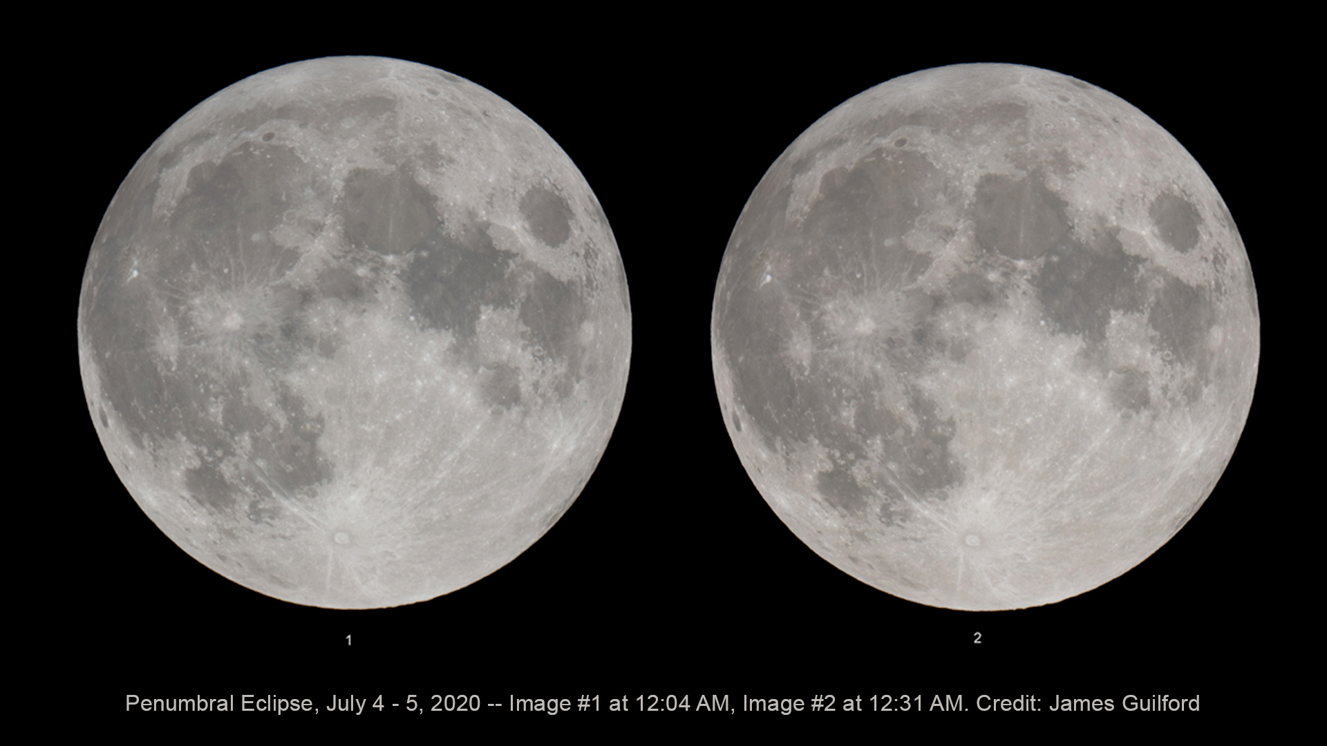 Little difference can be seen between an earlier stage and the maximum eclipse state of the July 4 - 5, 2020 penumbral lunar eclipse. Photos by James Guilford.